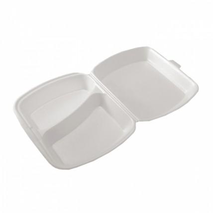 Vienkartinės putoplasto dėžutės maistui (2 skyriai), 125 vnt.
